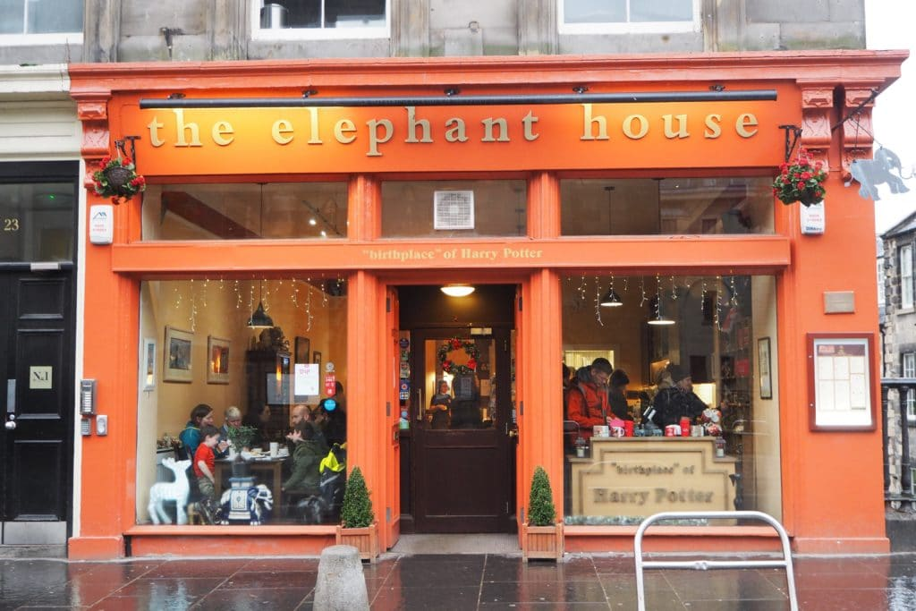 Very red Elephant House in Edinburgh Scotland