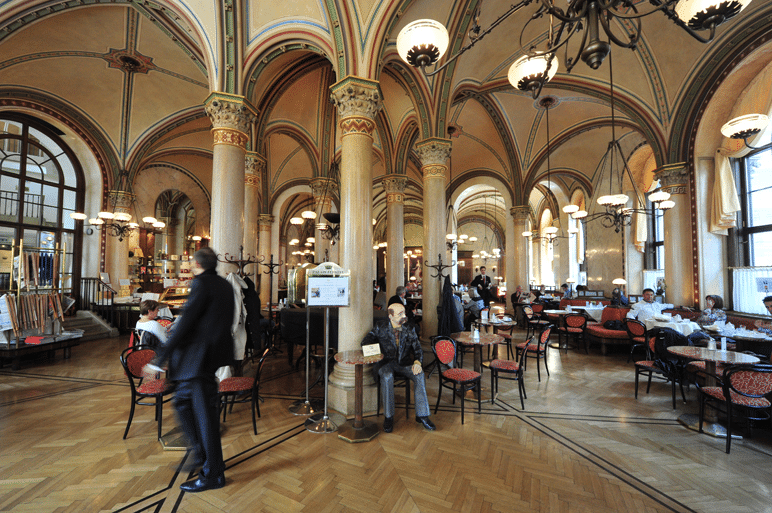 Magnificent interior of Café Central in Vienna, Austria