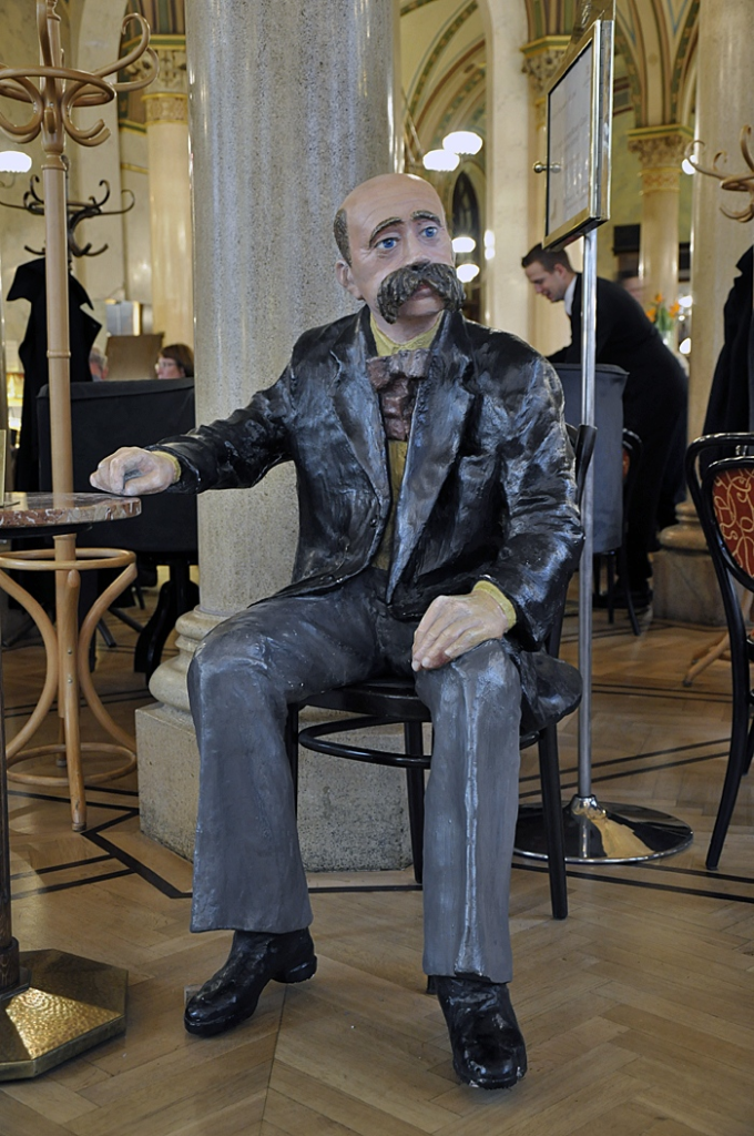 Slightly creepy mannequin of Mr. Peter Altenberg in Café Central