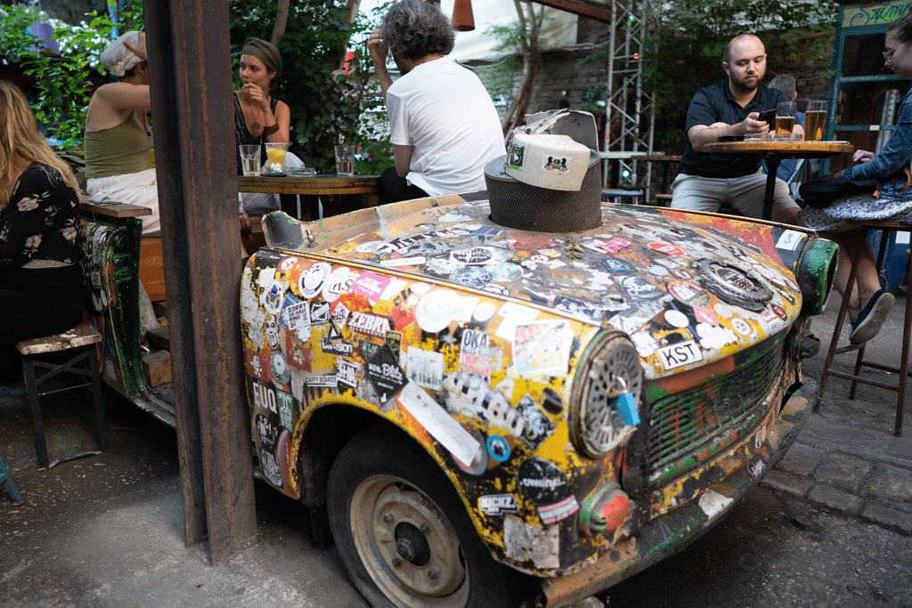 Car-as-furniture in Szimpla Kert in Budapest, Hungary